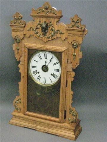 1001: Clock, Mantel Type, Oak, American, 8 Day Time and