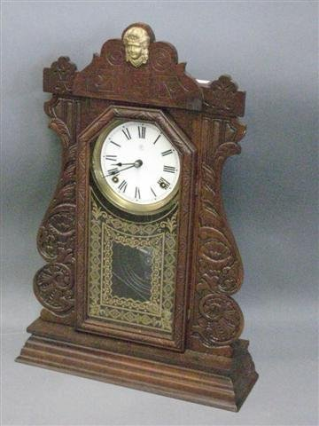 1002: Clock, Mantel Type, American, 8 Day Time and Stri