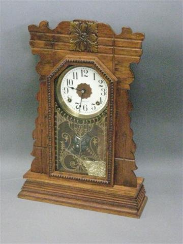 1004: Clock, New Haven, Mantel Type, Oak, Restored, Rep