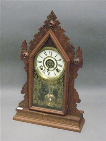 1008: Clock, Mantel Type, Victorian, Walnut, Steeple Fo