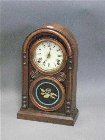 1010: Clock, Doric Form, Late 1800's, Mixed Woods, Ingr
