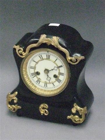 1011: Clock, Black Mantel Type, Iron Case with Gilt Emb