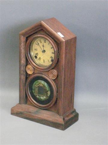 1012: Clock, Doric Form, by Ingraham, Rosewood Case, La