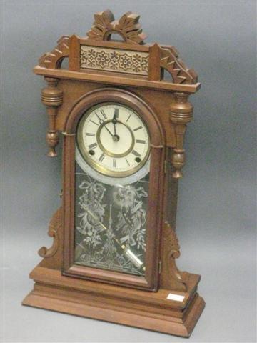 1015: Clock, Victorian, Parlor Type, Walnut, Barrel For