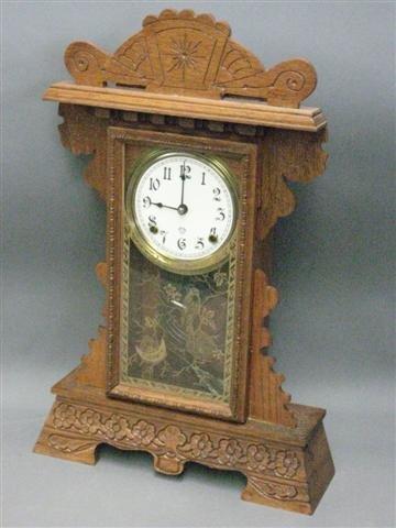 1019: Clock, Gingerbread Form, Oak, Ca. 1900, Ansonia,