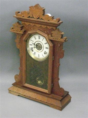 1020: Clock, Walnut, 8 Day Time and Strike, Victorian,