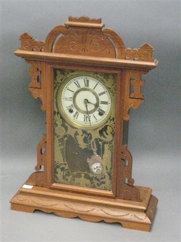 1021: Clock, Walnut, Mantel Type, Victorian, 8 Day Time