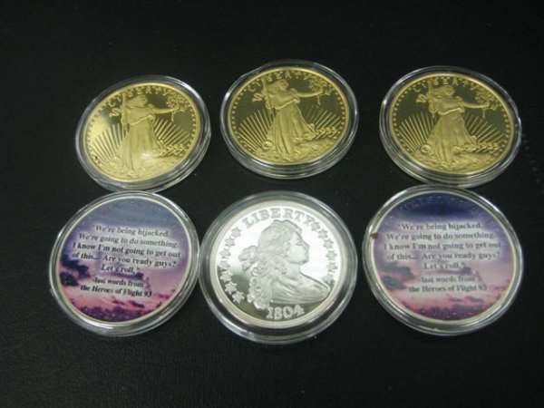 19: Coins, 6, Commemorative, (A) 5 Silver, 1.0 Troy oz.