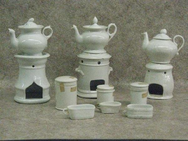 8: Voyeuses, 3, French, Antique, Complete with Oil Pots