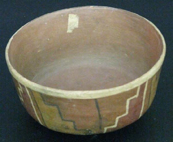 16: Nazca Pre-Columbian Bowl, Pottery, Geometric Design