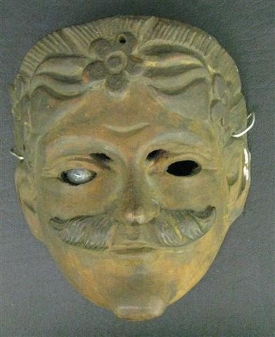17: Mexican Mask of a Spanish Don, Colonial Period, Wor