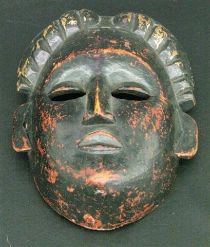 18: African Wooden Mask, Decorated and Carved, Man's Fa