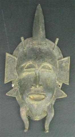 19: African Ashanti Mask, in Sand Cast Bronze, 12'' x 6