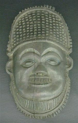 20: African Ebony Mask, Carved, Man's Face, with Elabor