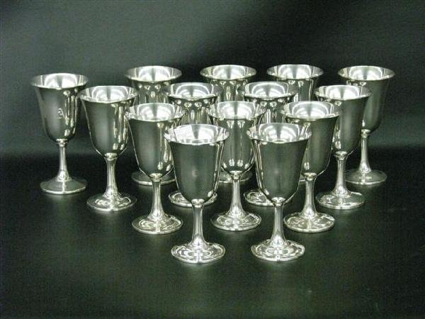138: Silver, Sterling, 14 Wine Goblets, by Wallace, 6 3