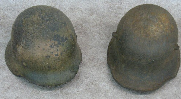 9: Helmets, 2, Believed to be German, (A) Remnants of D