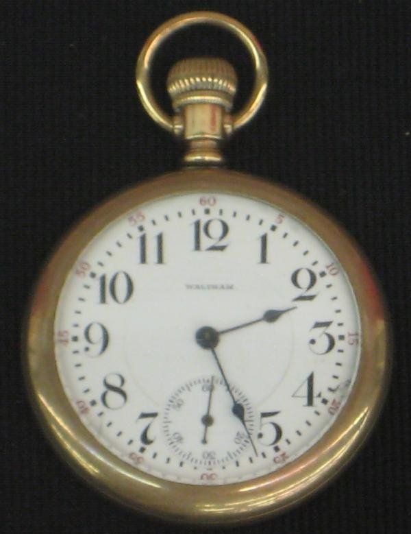24: Pocket Watch, 16S, Waltham, Yellow Gold Filled Open