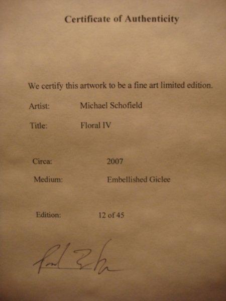 "11: Michael Schofield ""Floral IV"" Sgnd Ltd Ed Giclee - 4"