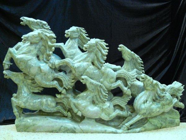 18: Large Burma Jade 8 Horses Mountain