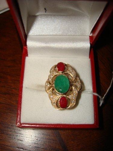 22: Ladies Ring 10K Yellow Gold Emerald, Ruby & Diamond