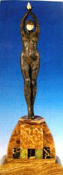 464: Signed Bronze & Ivory Deco Starfish Chiparus