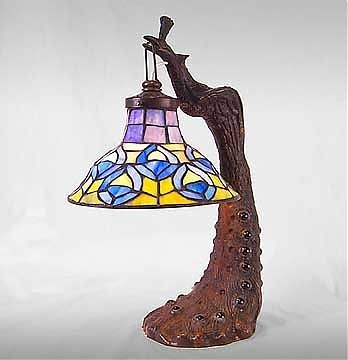 6: Attributed to Tiffany Peacock Lamp