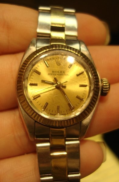 455: Lady's 18K Stainless & Gold Rolex Watch