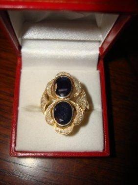 13: Ladies Ring 10K Yellow Gold Blue Sapphire & Diamond