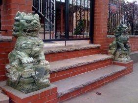 """19: Pair of 32"""" Green Jade Foodogs"""