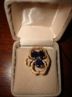 27: Ladies Ring 10K Yellow Gold Blue Sapphire & Diamond