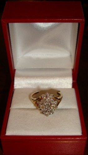 214: Ladies 10K Yellow Gold Diamond Ring