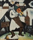 "605: Chagall ""The Violinist"" 20x24 Signed Ltd Ed Oil on"