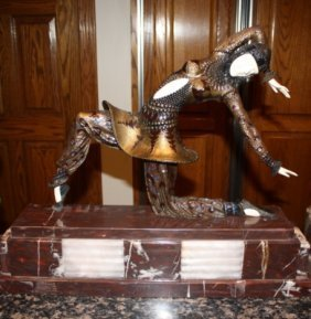 24: Signed Ivory & Bronze Deco Chiparus Karmona