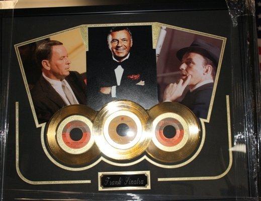 9: Framed Trio Photo & Gold Record Frank Sinatra