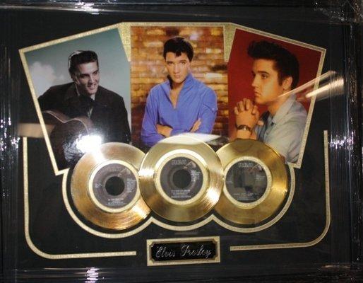 10: Framed Trio Photo & Gold Record Elvis Presley