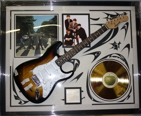 112: Autographed Beatles Collage Guitar