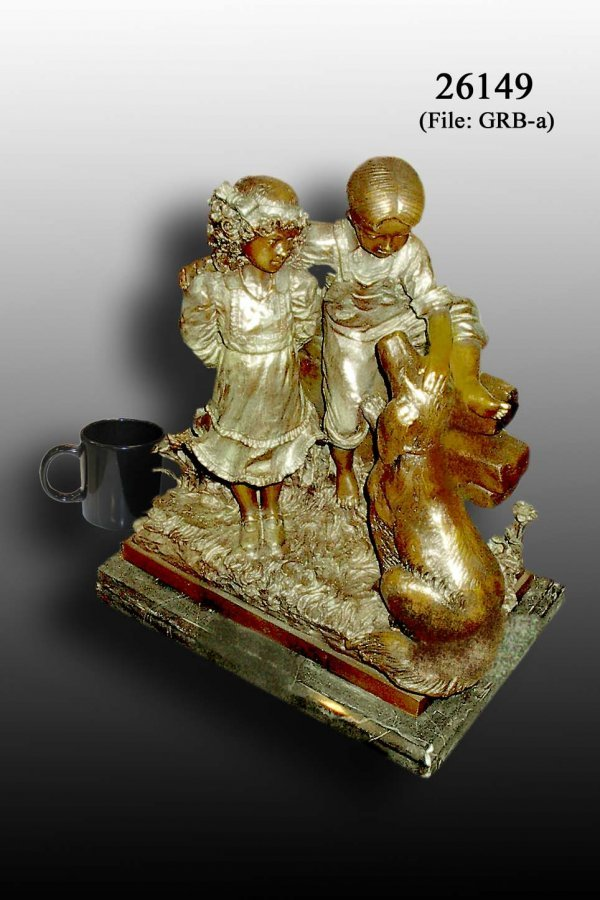 1: Bayre - Bronze Boy and Girl with Dog Statue