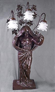 3E: Bronzite Figural Lady Table Lamp w/ Three Lights