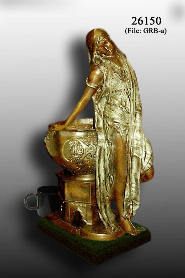 3A: Bronze Arab Woman with Urn Statue