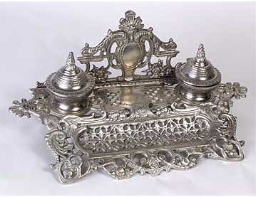 2Z: Double inkwell. Pewter finish 51696