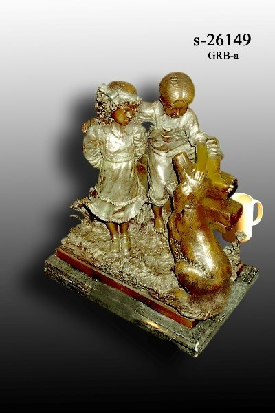2: Bayre - Bronze Boy and Girl with Dog Statue