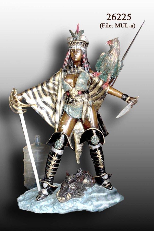 470: Vaton - Bronze Lady Hunter with Eagle Statue