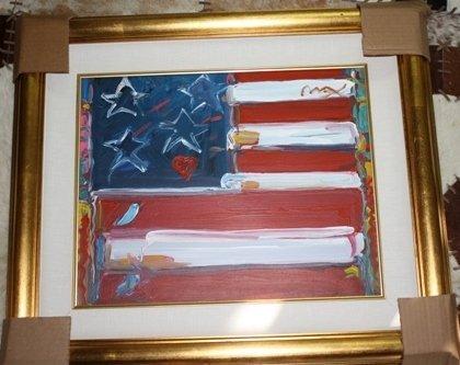 2: Original Acrylic on Canvas Peter Max Flag