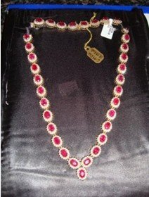 2I: 295: Ladies 14K Yellow Gold Ruby & Diamond Necklace