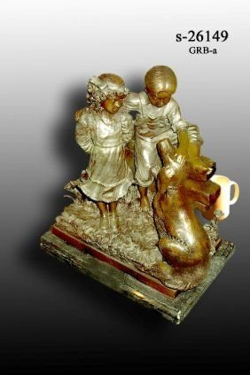 5Y: Bayre - Bronze Boy and Girl with Dog Statue