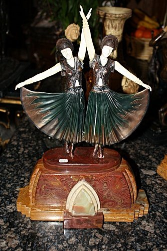 1Z: 1: Signed Bronze & Ivory Deco Sisters Chiparus