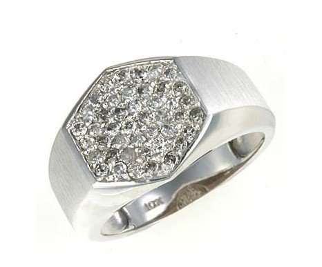 3: Men's 1 ctw Diamond Ring in 10K White Gold