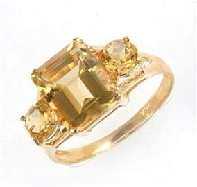 54: 4 ctw. Citrine 10K Yellow Gold Ring