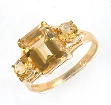 54: 4 ctw. Citrine 10K Yellow Gold Ring