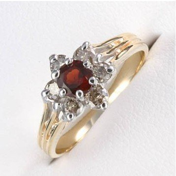 2B: 1 ctw. Garnet & Diamond 10K Gold Ring RGS-360